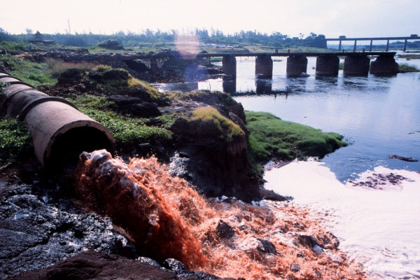Effluent pipe of Common Effluent Treatmant Plant at Damanganga river in Vapi,Gujarat,India